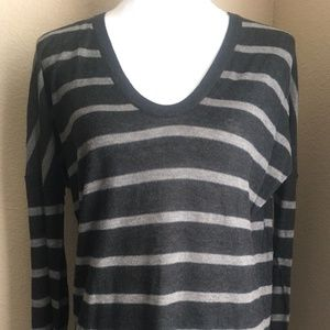 Vince Gray Striped Lightweight Thin V-Neck Sweater